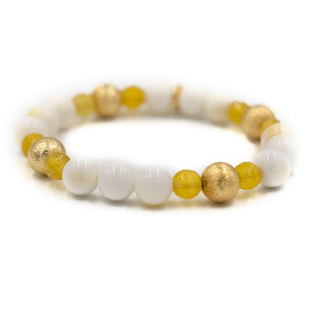 Blossom Bracelet, White Coral and Yellow Jade