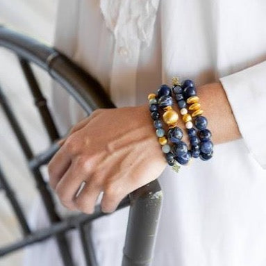 Blossom Bracelet, Sodalite and Aquamarine