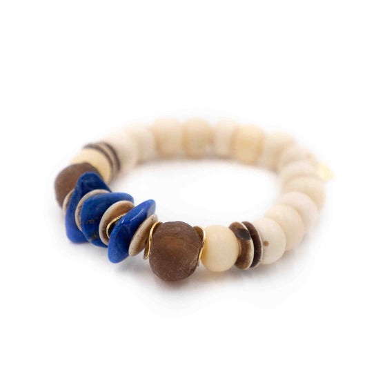 Bali Bracelet, White and Lapis