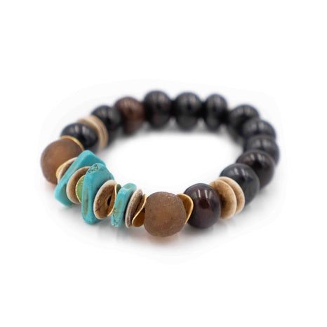 Bali Bracelet, Brown and Turquoise