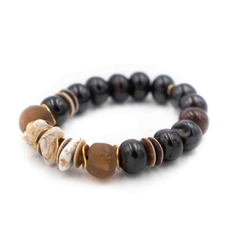 Bali Bracelet, Brown and White