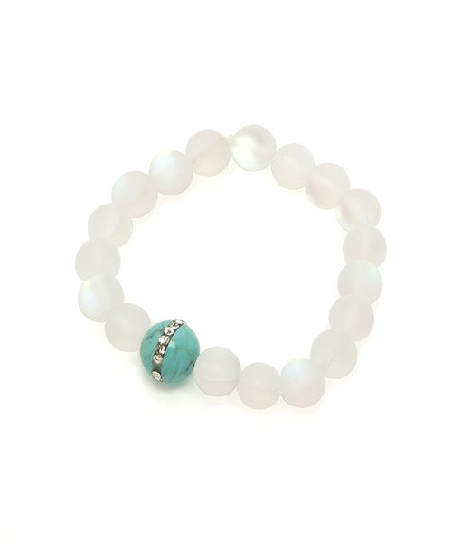 Malia Bracelet, Clear Glass with Turquoise