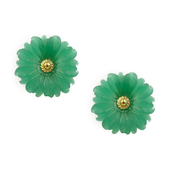 Daisy Earring, Small, Green Jade