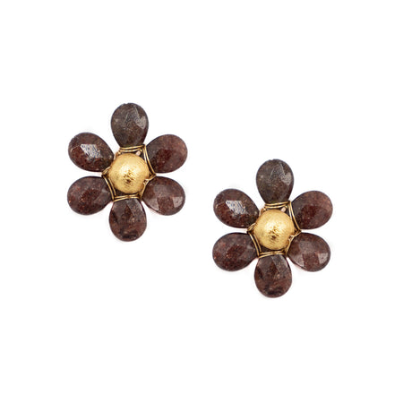 Flora Earring, Light Burgundy