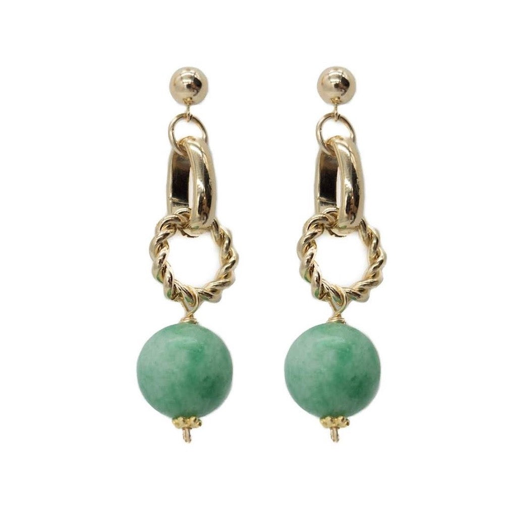 Hazel Earring, Green Jade