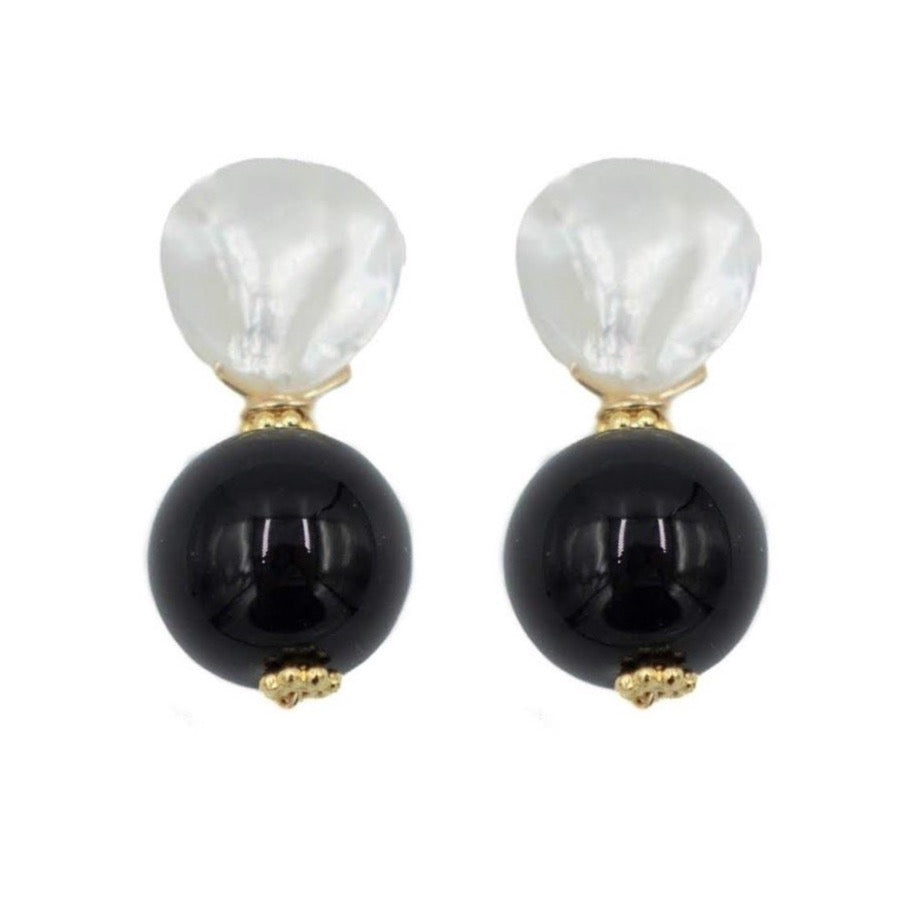 Claire Earring, Black Onyx, Smooth