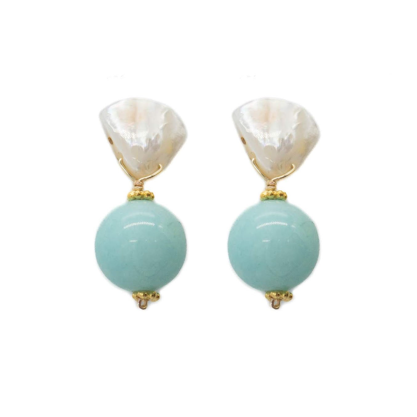 Claire Earring, Sea Foam Blue Jade