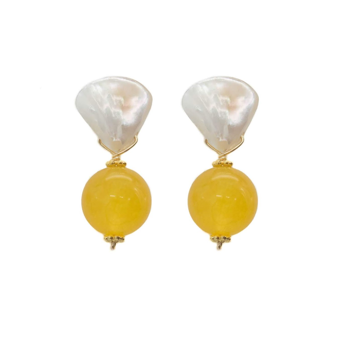 Claire Earring, Mustard Jade