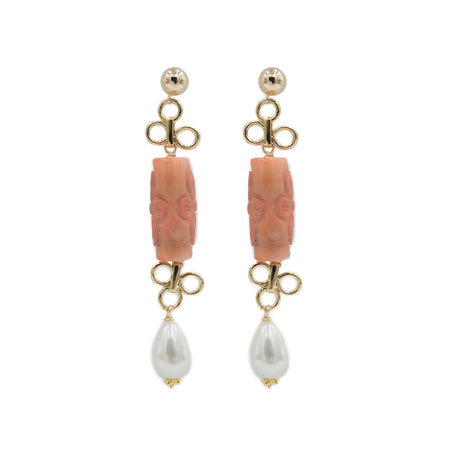 Caitlin Earring, Carved Coral