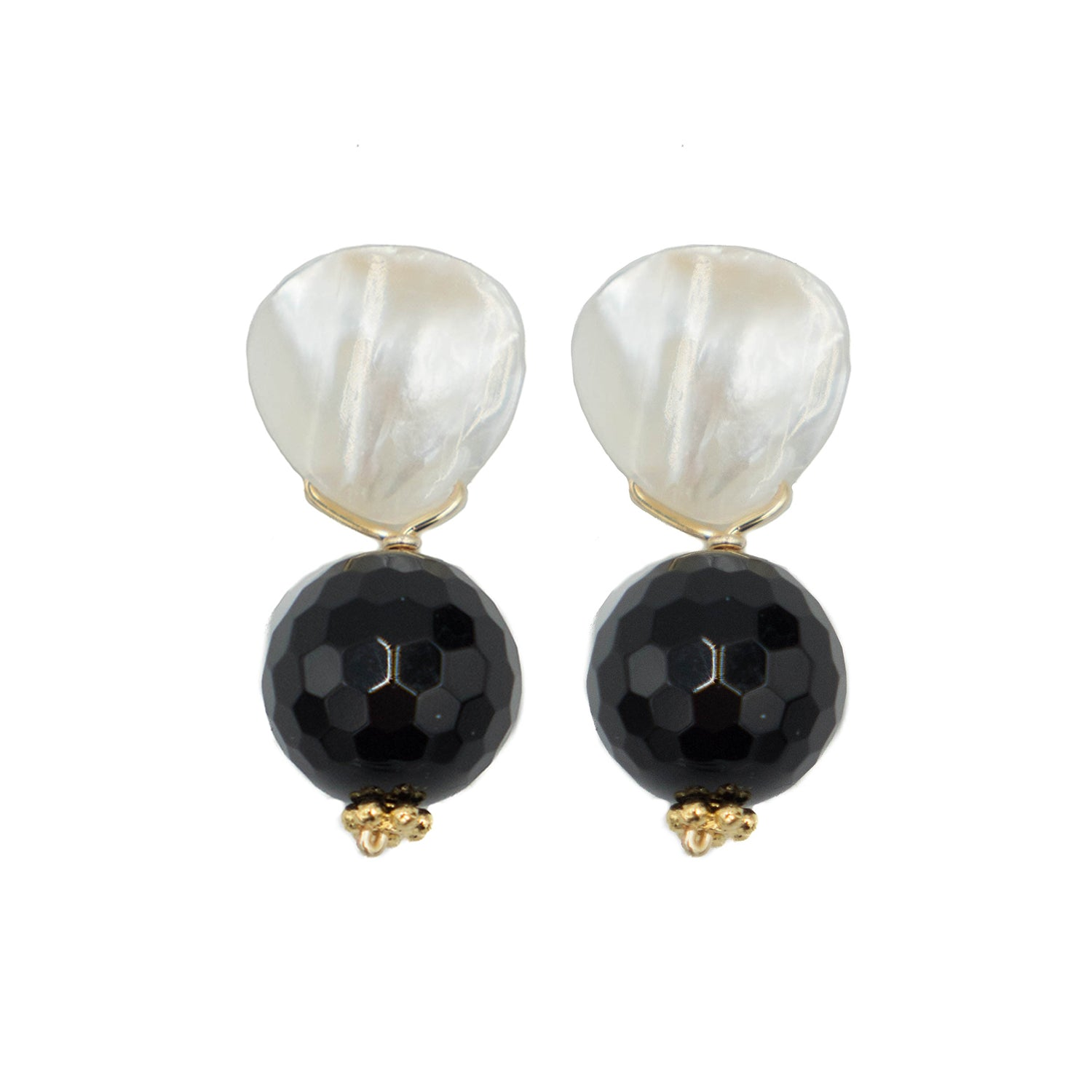 Claire Earring, Faceted Black Onyx