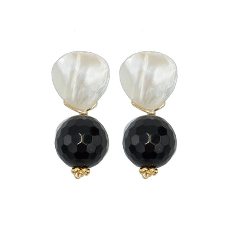 Claire Earring, Black Onyx, Faceted