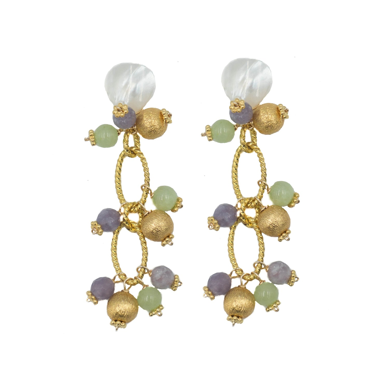Tropez Earring, Purple and Green