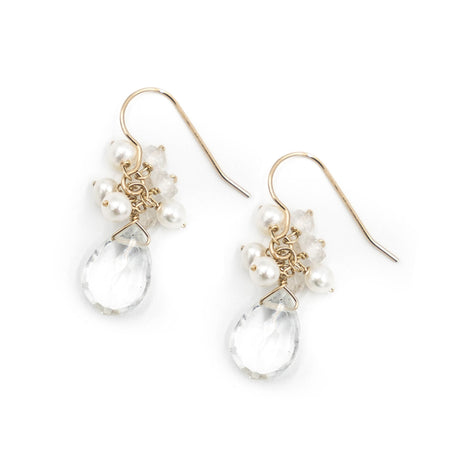 Meredith Earring, Moonstone and Freshwater Pearls, Gold