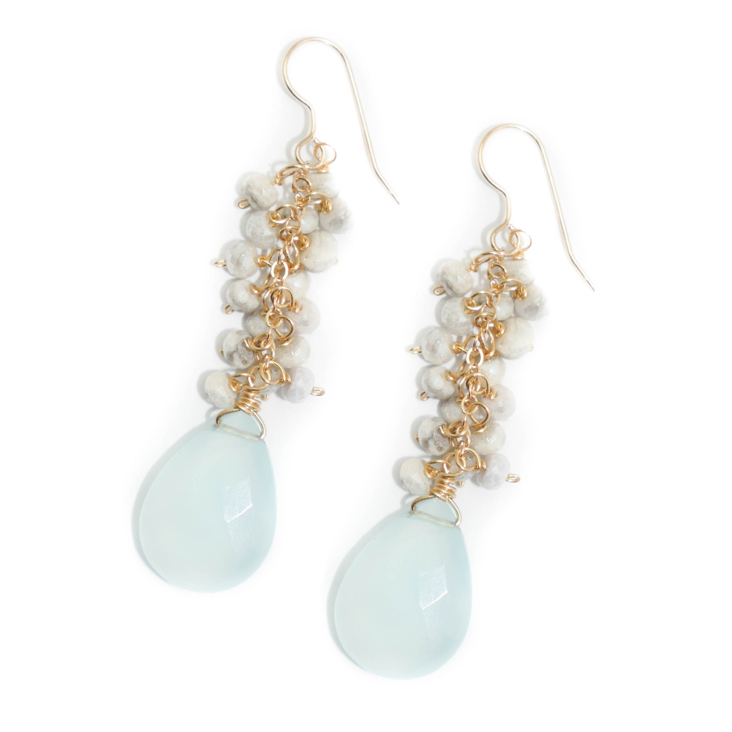 Newton Earring, Blue Opal