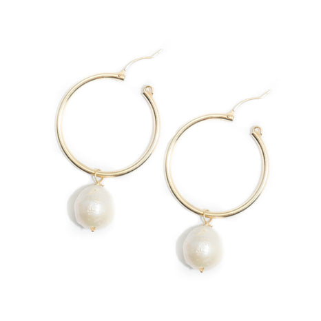 Kary Earring, White Baroque, Medium
