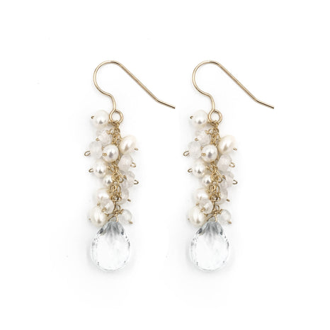 Newton Earring, Moonstone and Pearl, Gold