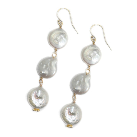 Dee Earring, Triple Coin Pearl, Gold