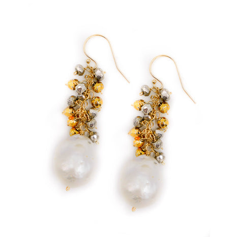 Newton Earring, White Baroque