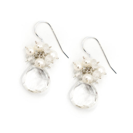 Meredith Earring, Moonstone and Freshwater Pearls, Silver