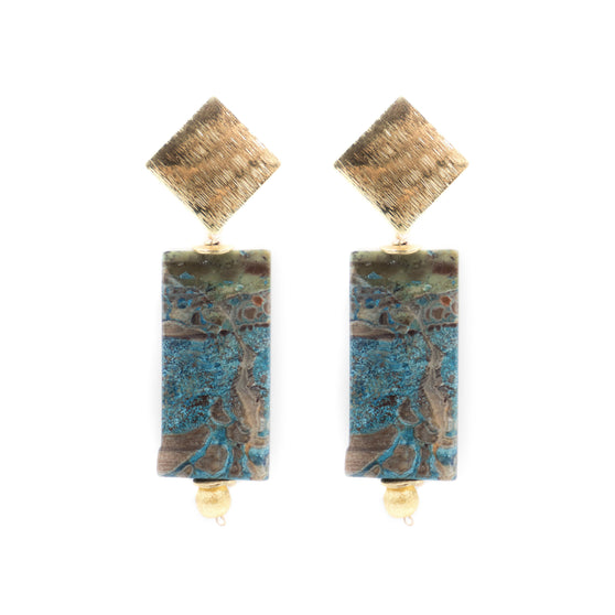Darby Earring, Rectangular Amazonite