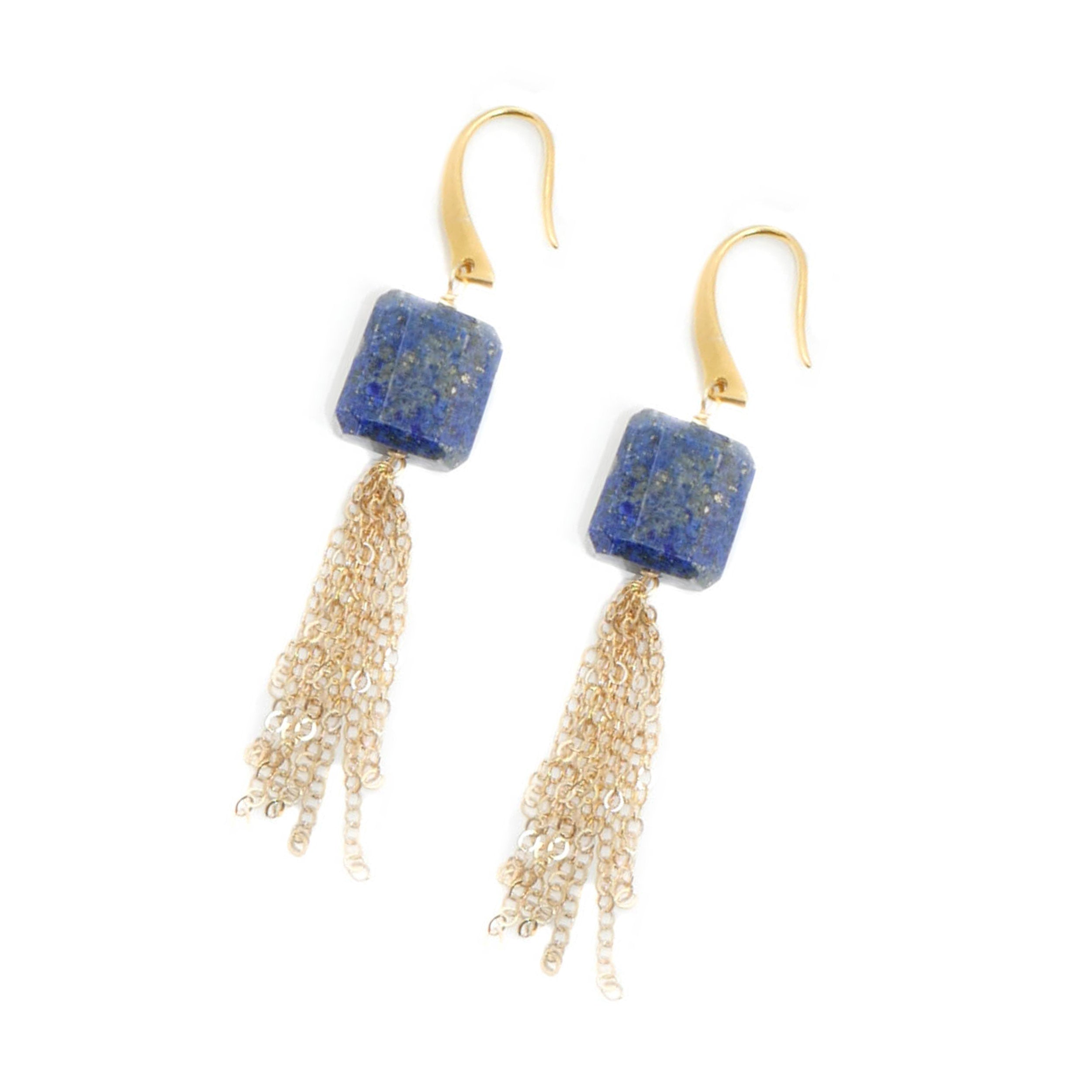 Morgan Earring, Square Lapis