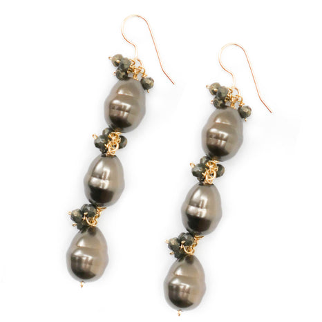 Bailey Earring, Triple Brown Pearl