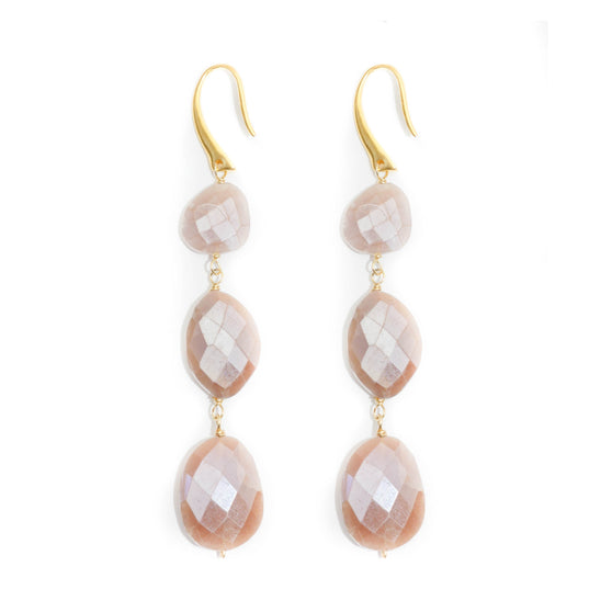 Weston Earring, Red Moonstone