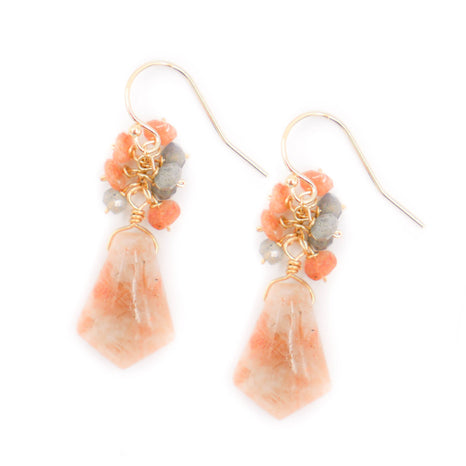 Denise Earring, Orange Opal