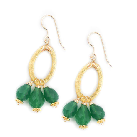 Amesbury Earring, Emerald Green Onyx, Small