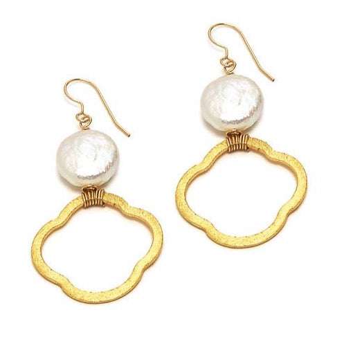 Hannah Earring, White Coin Pearl Gold