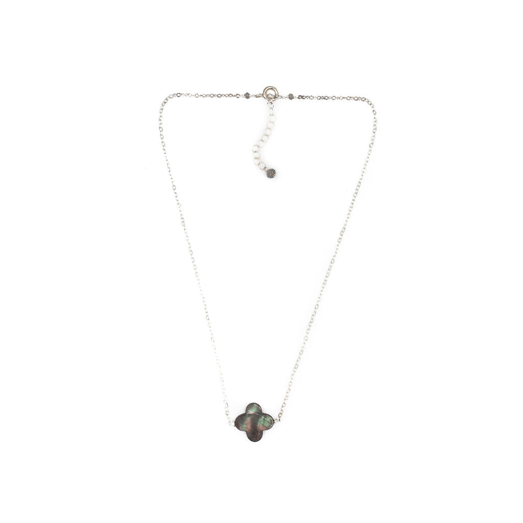 Faye Necklace, Gray, Silver