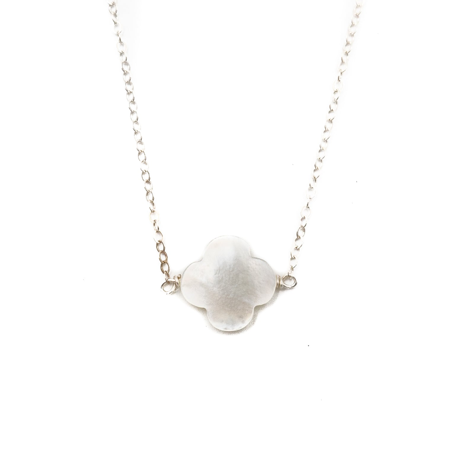 Faye Necklace, White, Silver