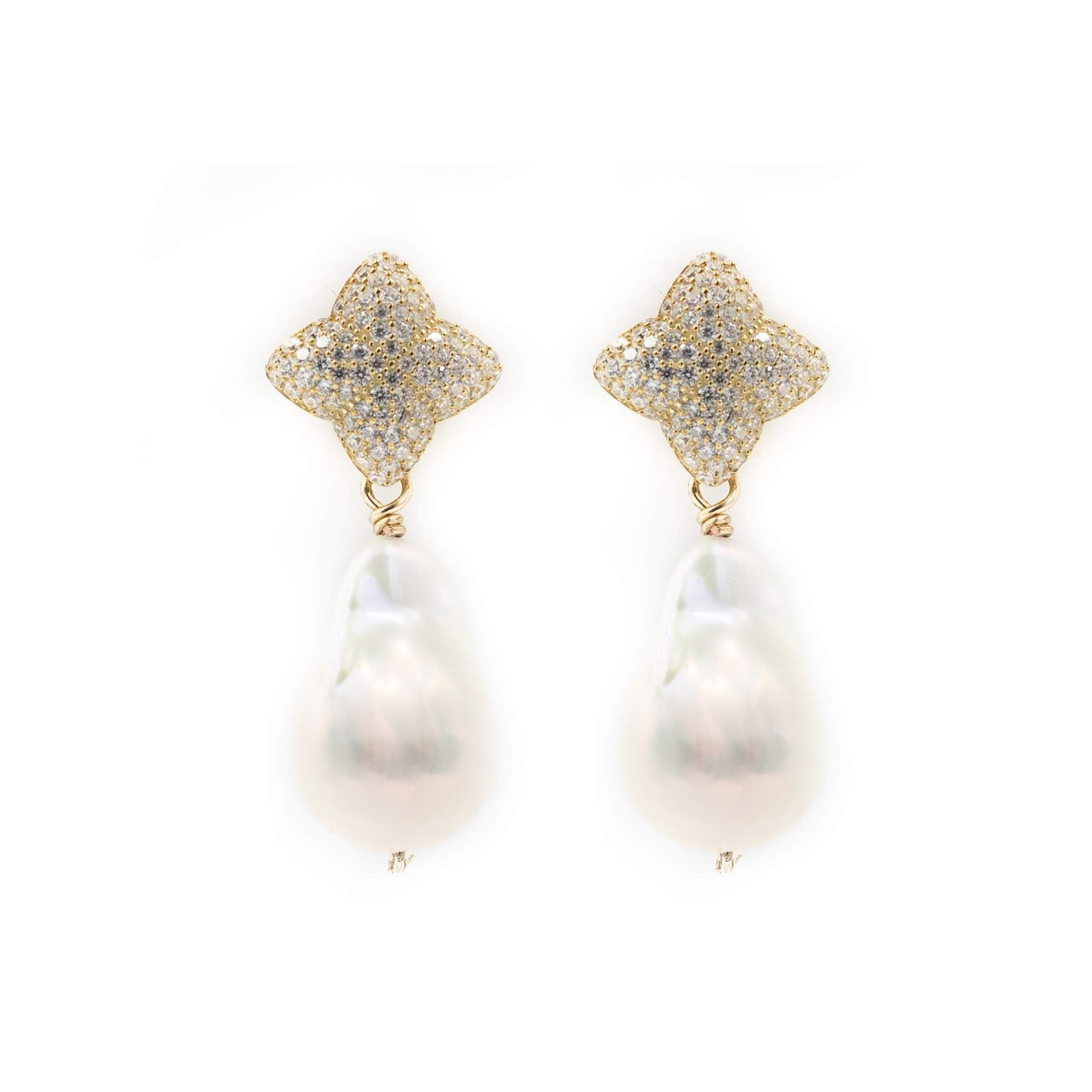 Alicia Earring, Gold with Baroque Pearl Charm
