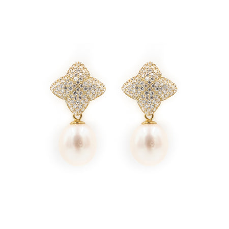 Alicia Earring, Gold with Freshwater Pearl Charm