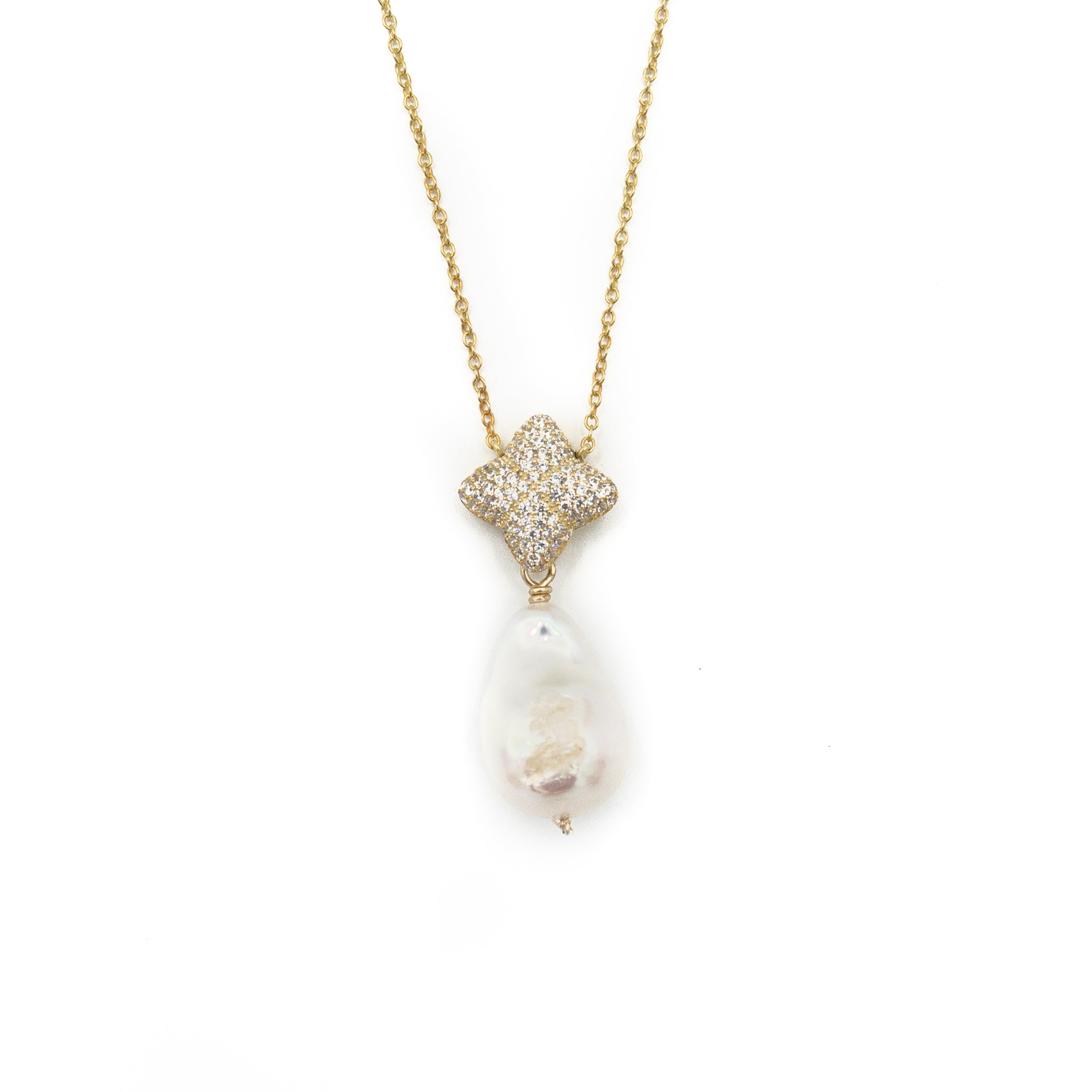 Alicia Necklace, Gold with Baroque Pearl Charm