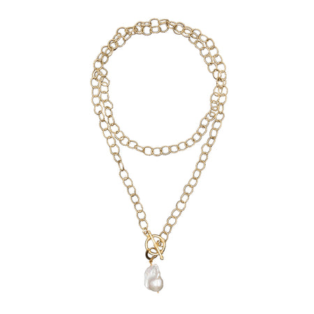 Laurel Necklace with Baroque Pearl Charm