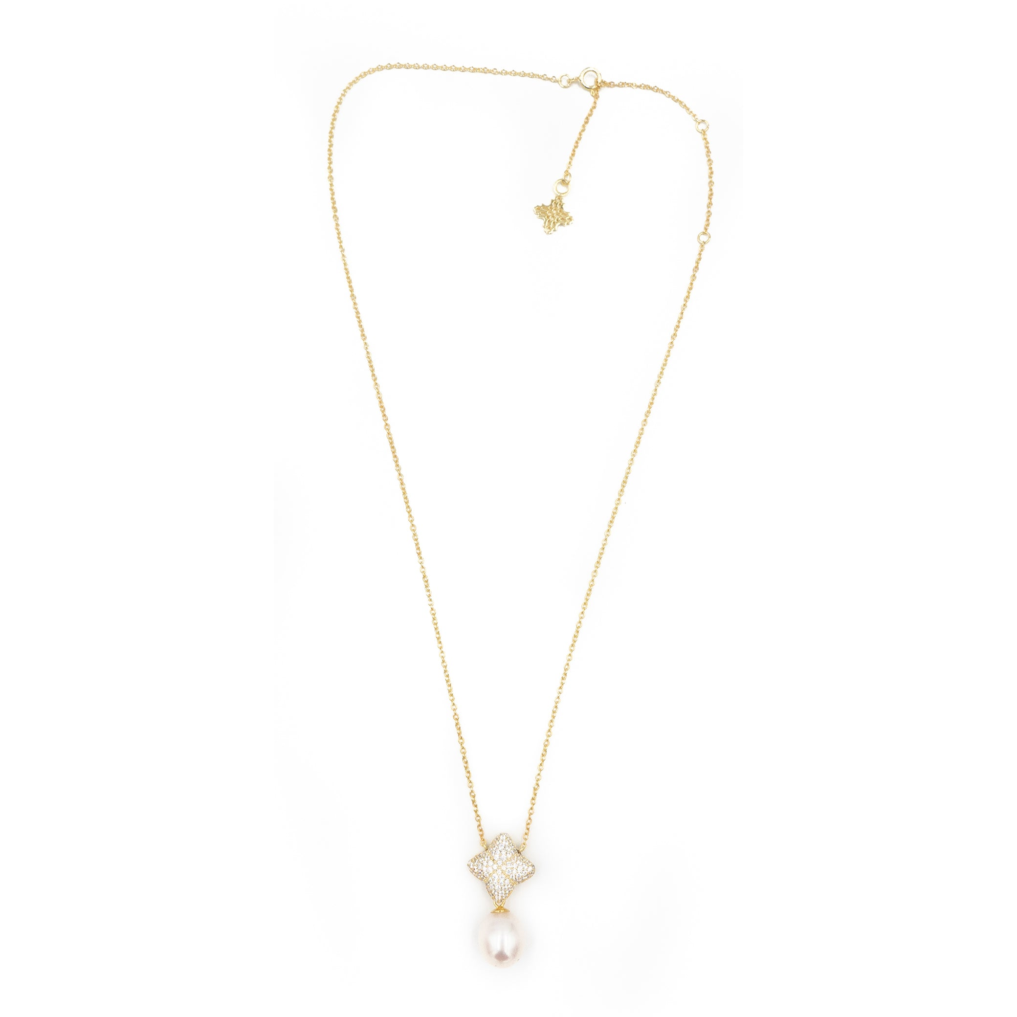 Alicia Necklace, Gold with Freshwater Pearl Charm