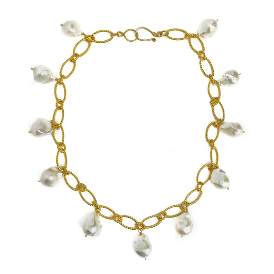 Mimosa Necklace, White Baroque