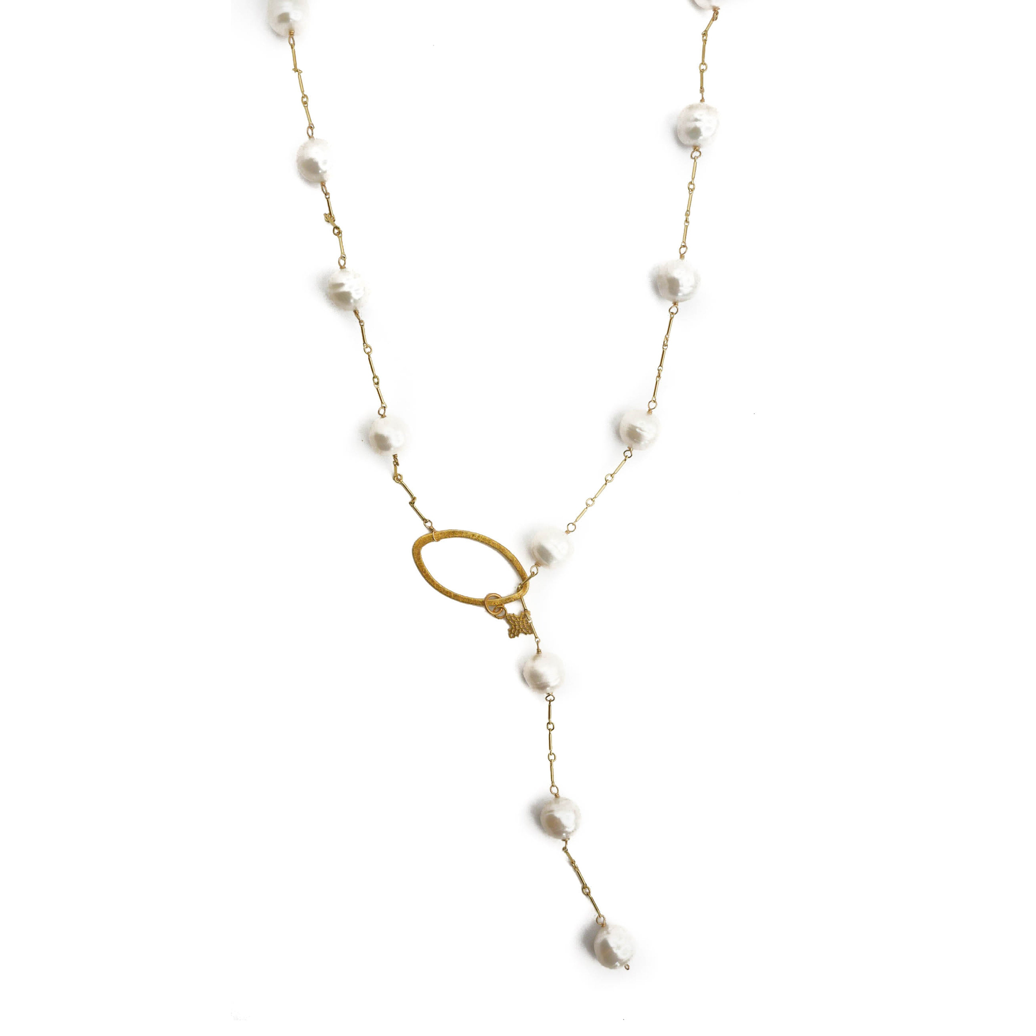 Angela Lariat, White Pearl, Gold