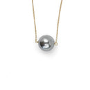Abbie Necklace, Gray Pearl