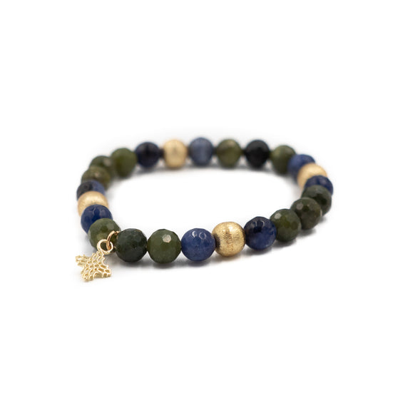 Blossom Bracelet, Green Jade and Sodalite