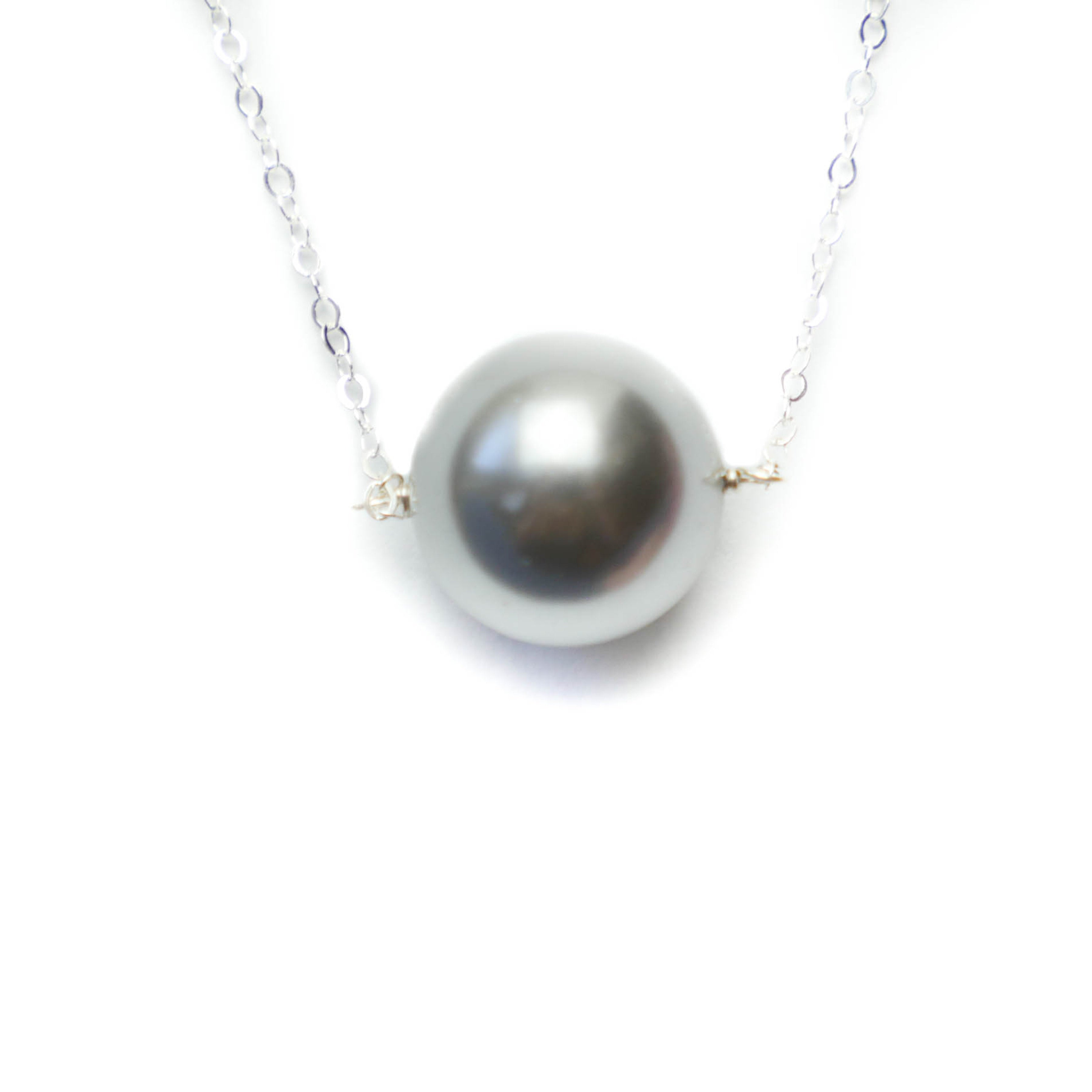 Augusta Necklace, Gray Pearl, Silver