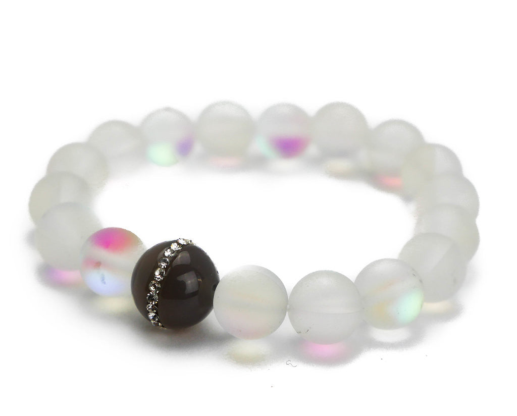 Malia Bracelet, Clear Glass with Gray