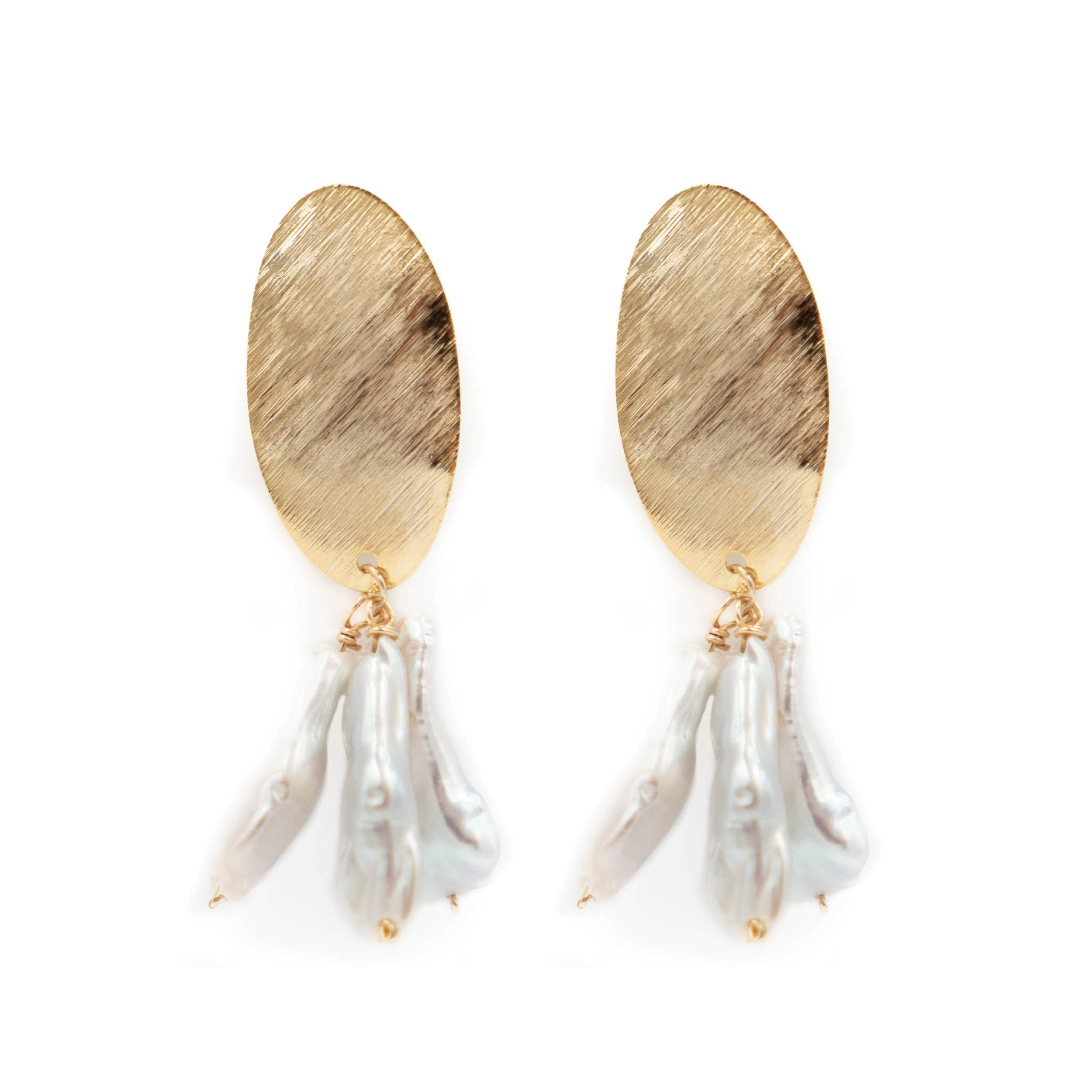 Darby Earring, White Stick Pearl