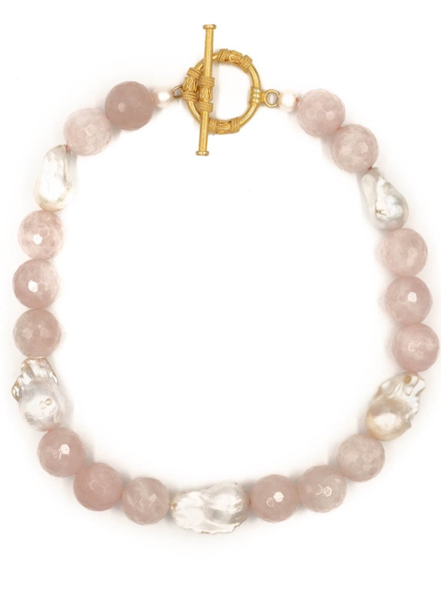 Annabelle Necklace, Rose Quartz