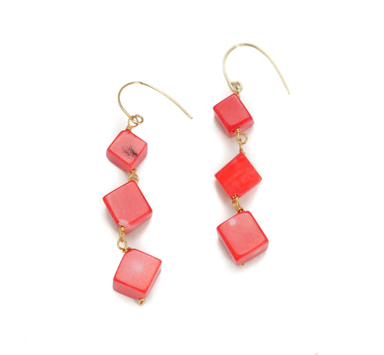 Dee Earring, Triple Coral
