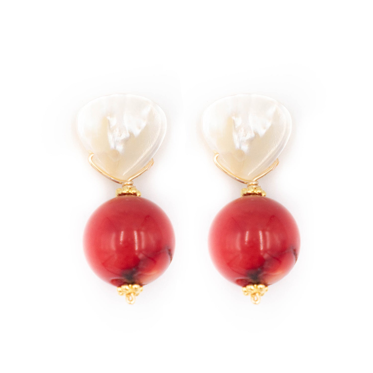 Claire Earring, Red Coral