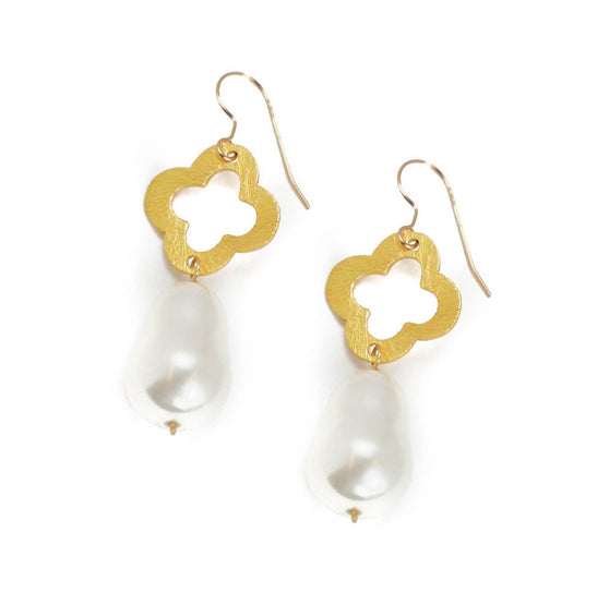Mari Earring, Teardrop White Mother of Pearl