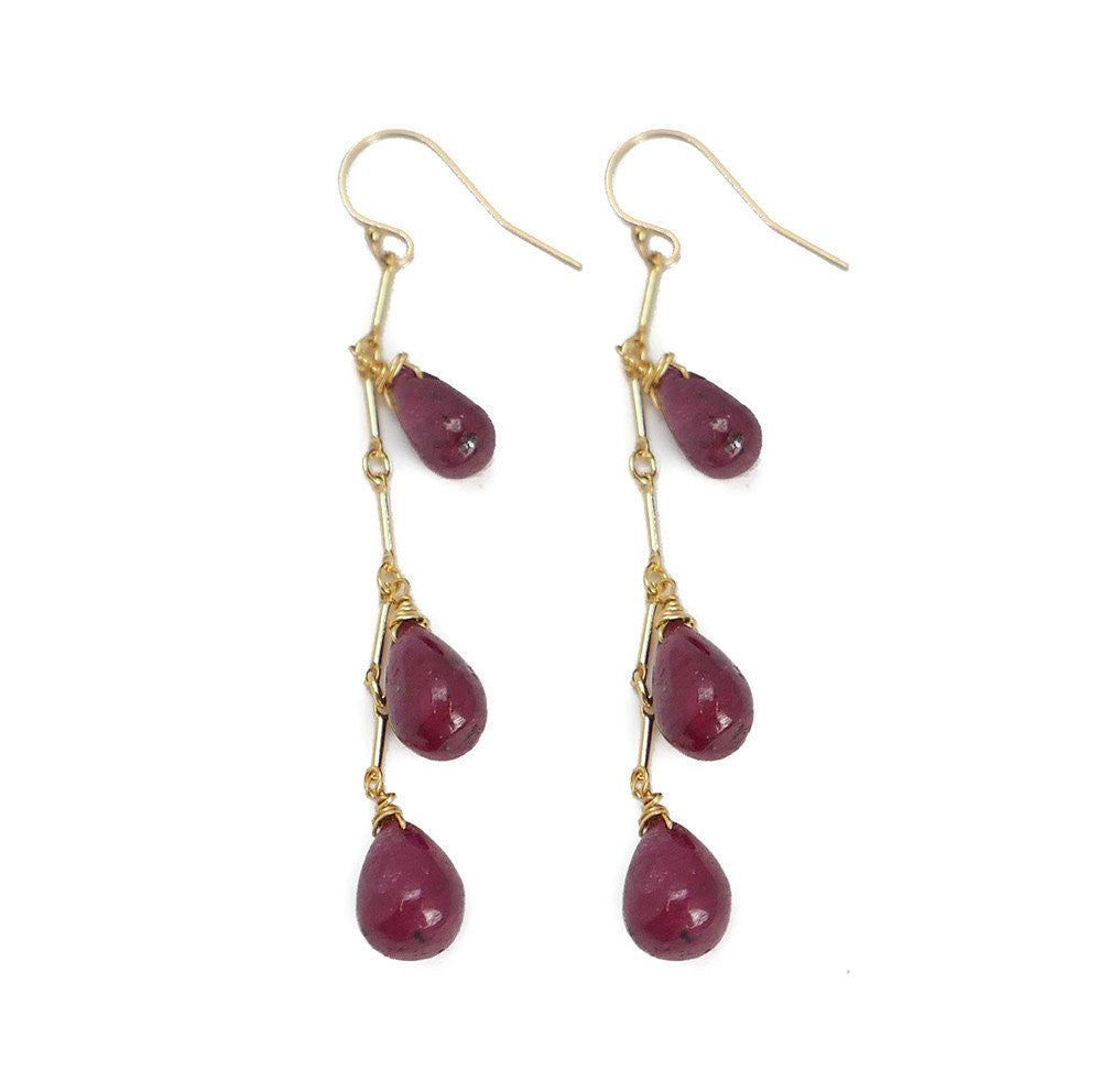 Cleo Earring, Triple Ruby