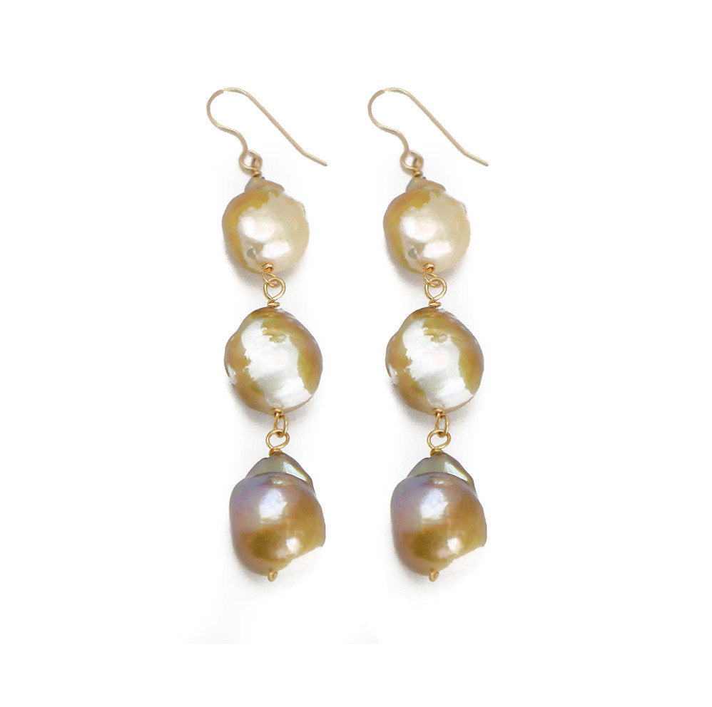 Dee Earring, Triple Rose Baroque Pearl